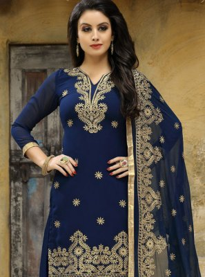 Embroidered Work Faux Georgette Punjabi Suit