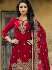 Embroidered Work Faux Georgette Red Punjabi Suit