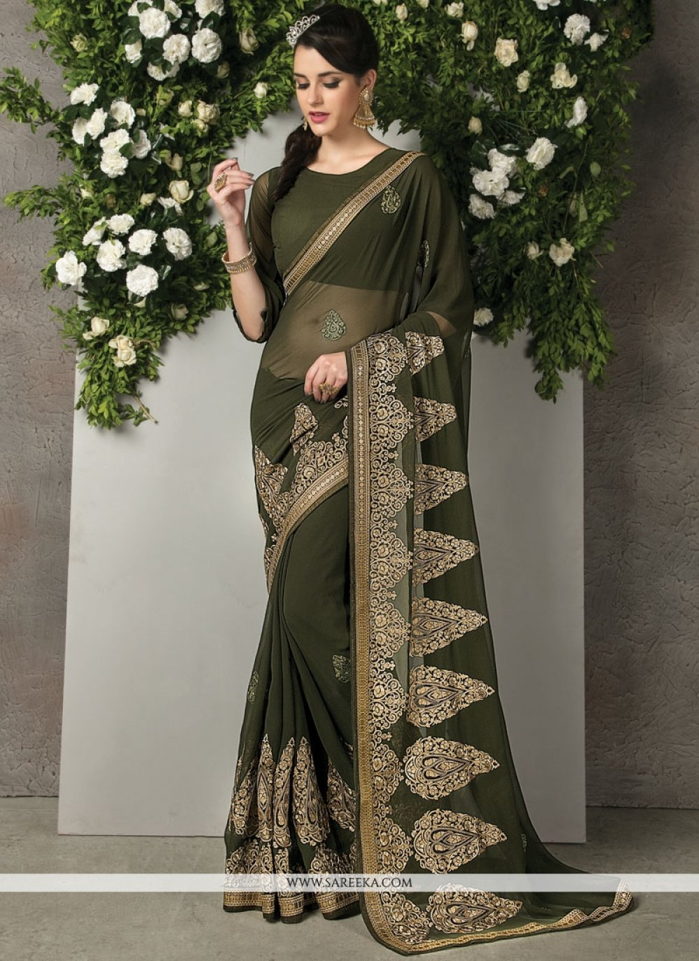 Embroidered Work Faux Georgette Saree