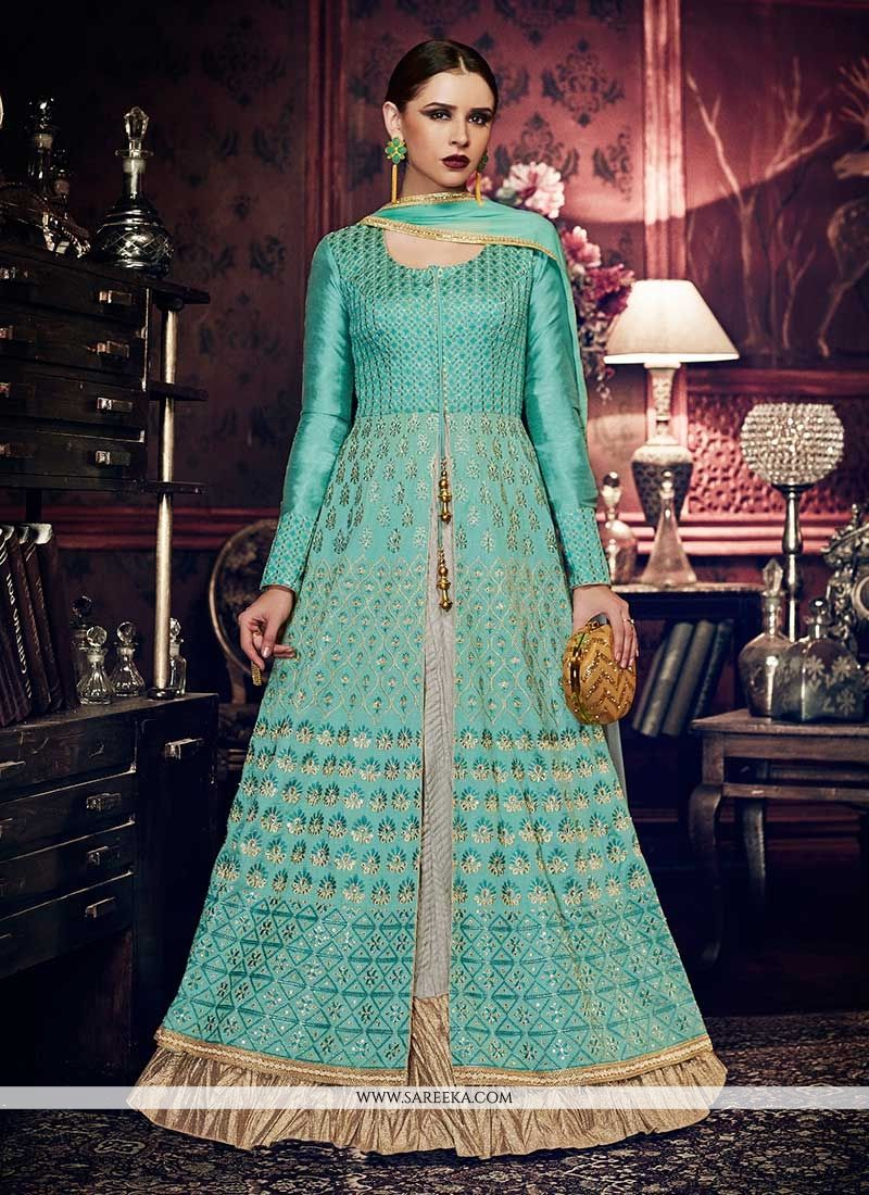 Embroidered Work Floor Length Anarkali Suit