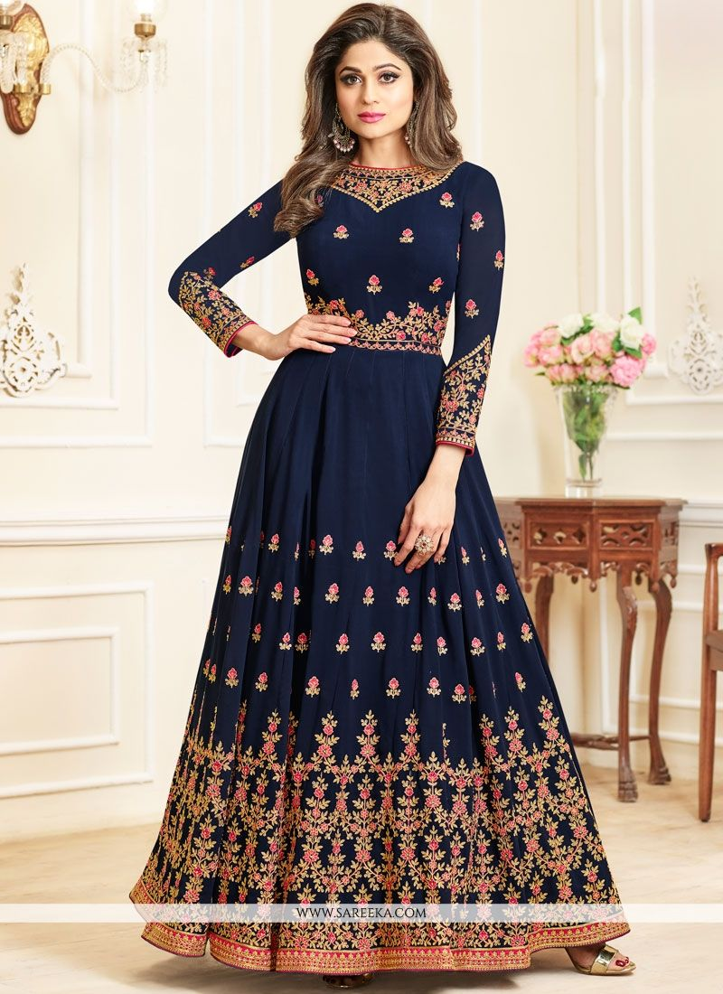 Embroidered Work Georgette Anarkali Salwar Kameez