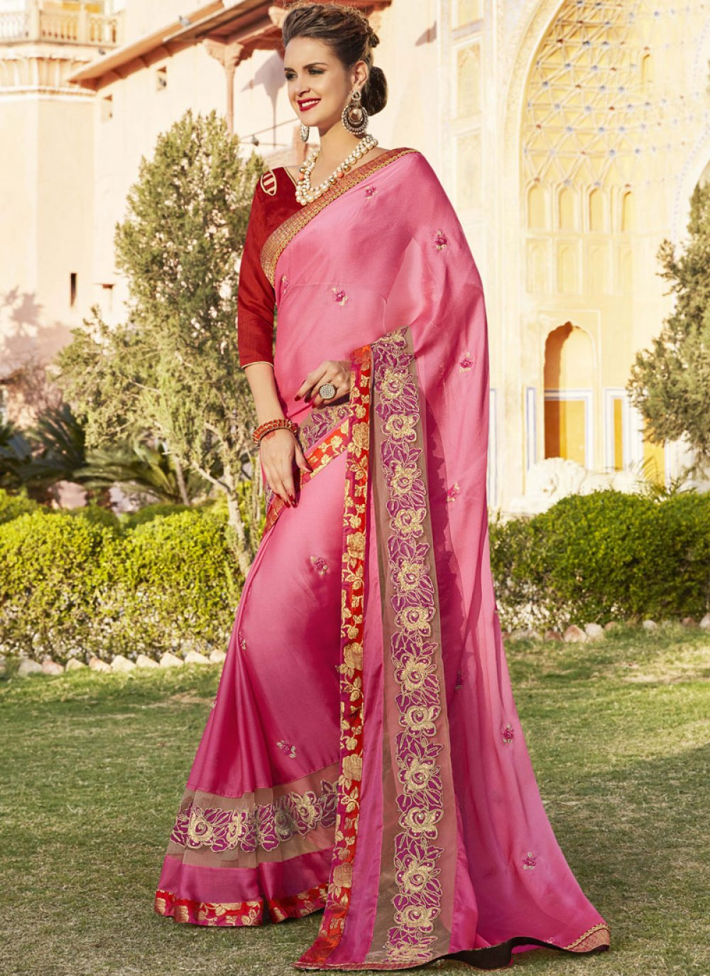 Embroidered Work Georgette Bollywood Saree