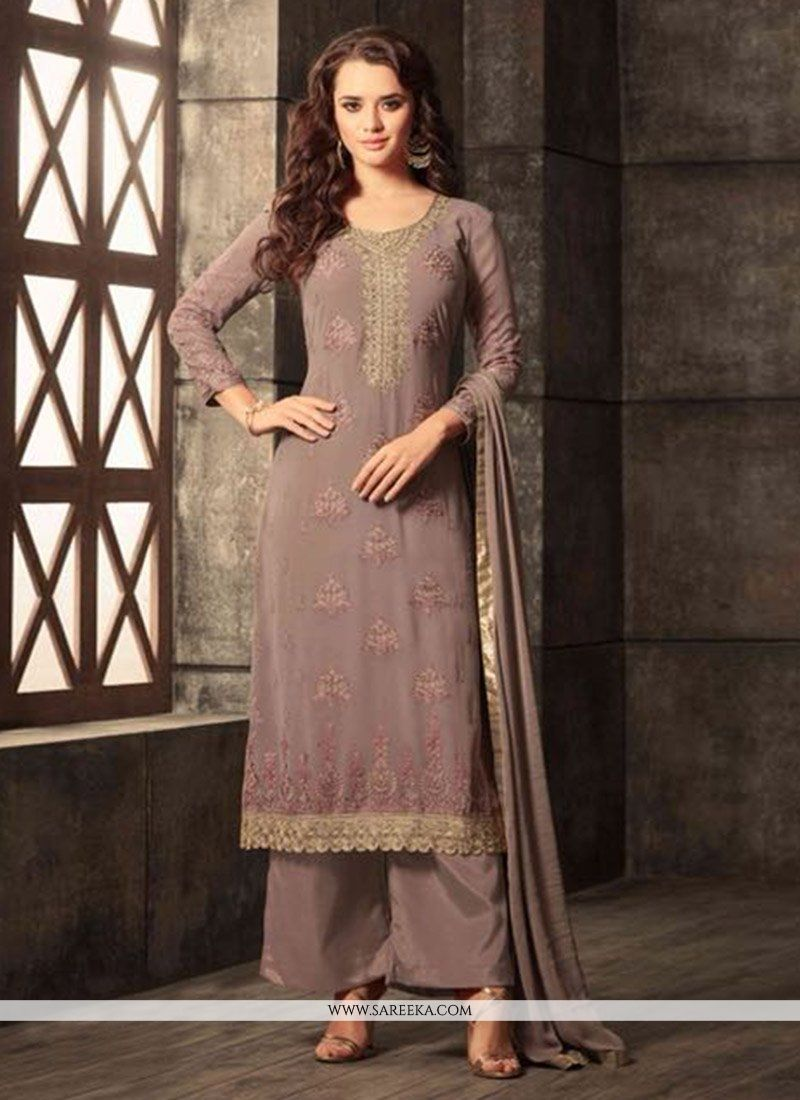 Embroidered Work Georgette Brown Salwar Kameez