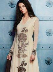 Embroidered Work Georgette Off White Anarkali Salwar Kameez