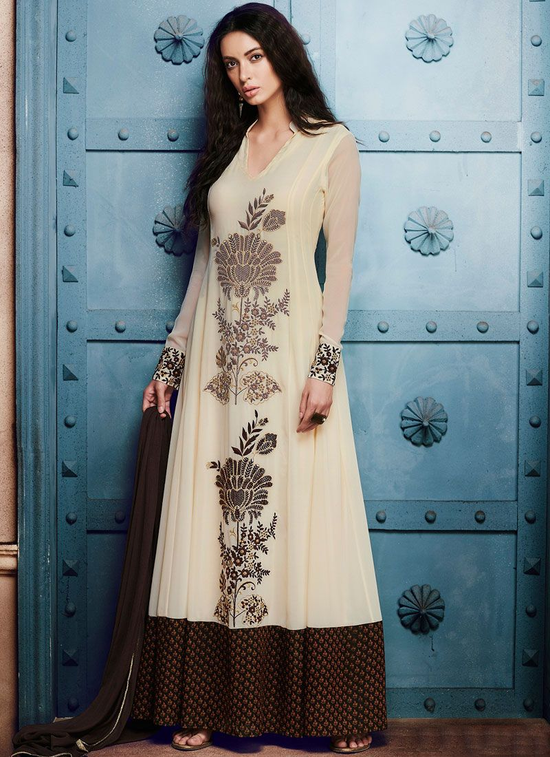 Embroidered Work Georgette Off White Anarkali Salwar Kameez