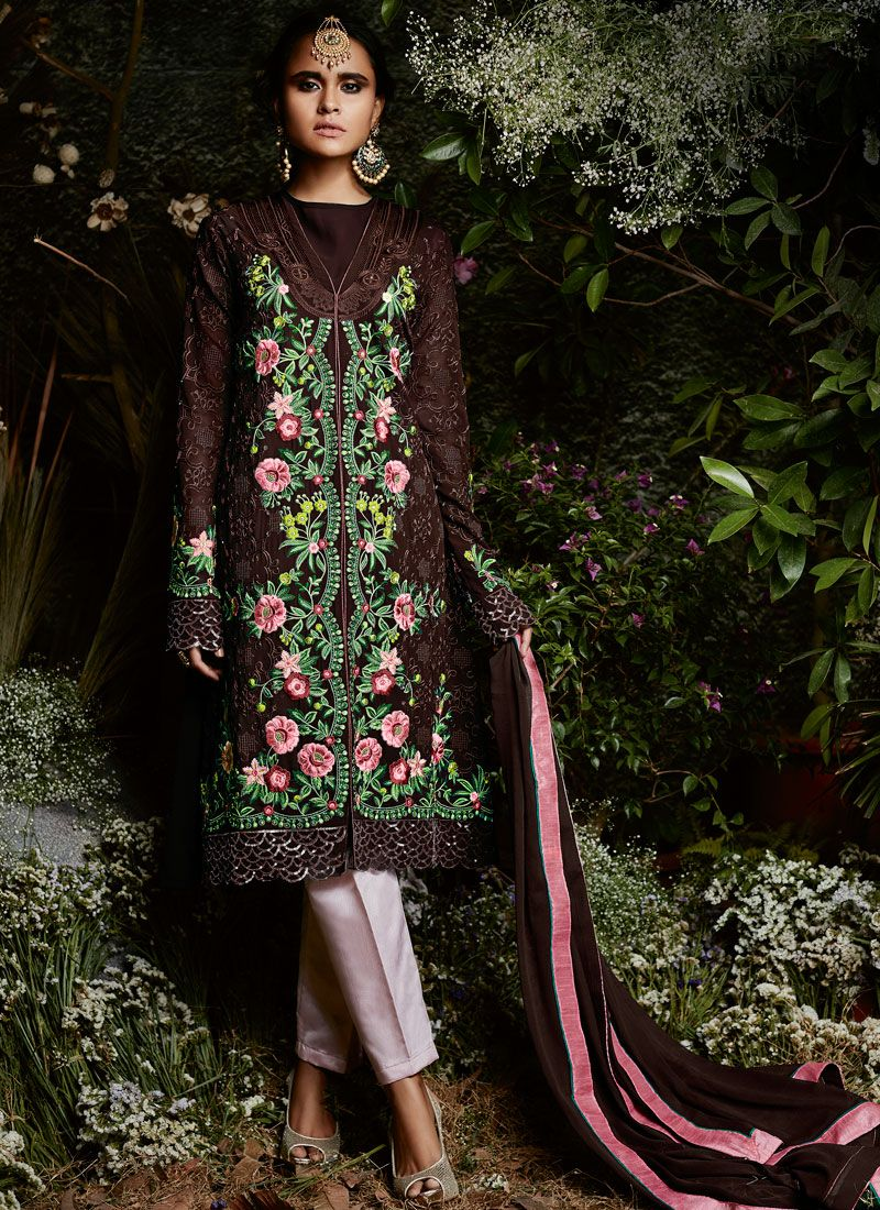 Embroidered Work Georgette Pant Style Suit