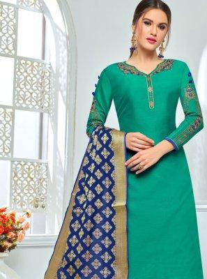 Embroidered Work Green Chanderi Cotton Churidar Salwar Suit