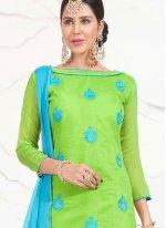 Embroidered Work Green Chanderi Cotton Churidar Suit