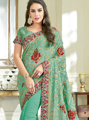 Embroidered Work Green Classic Designer Saree