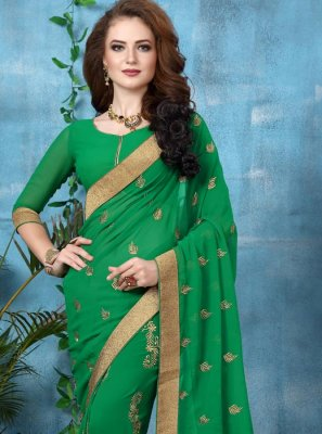 Embroidered Work Green Classic Saree