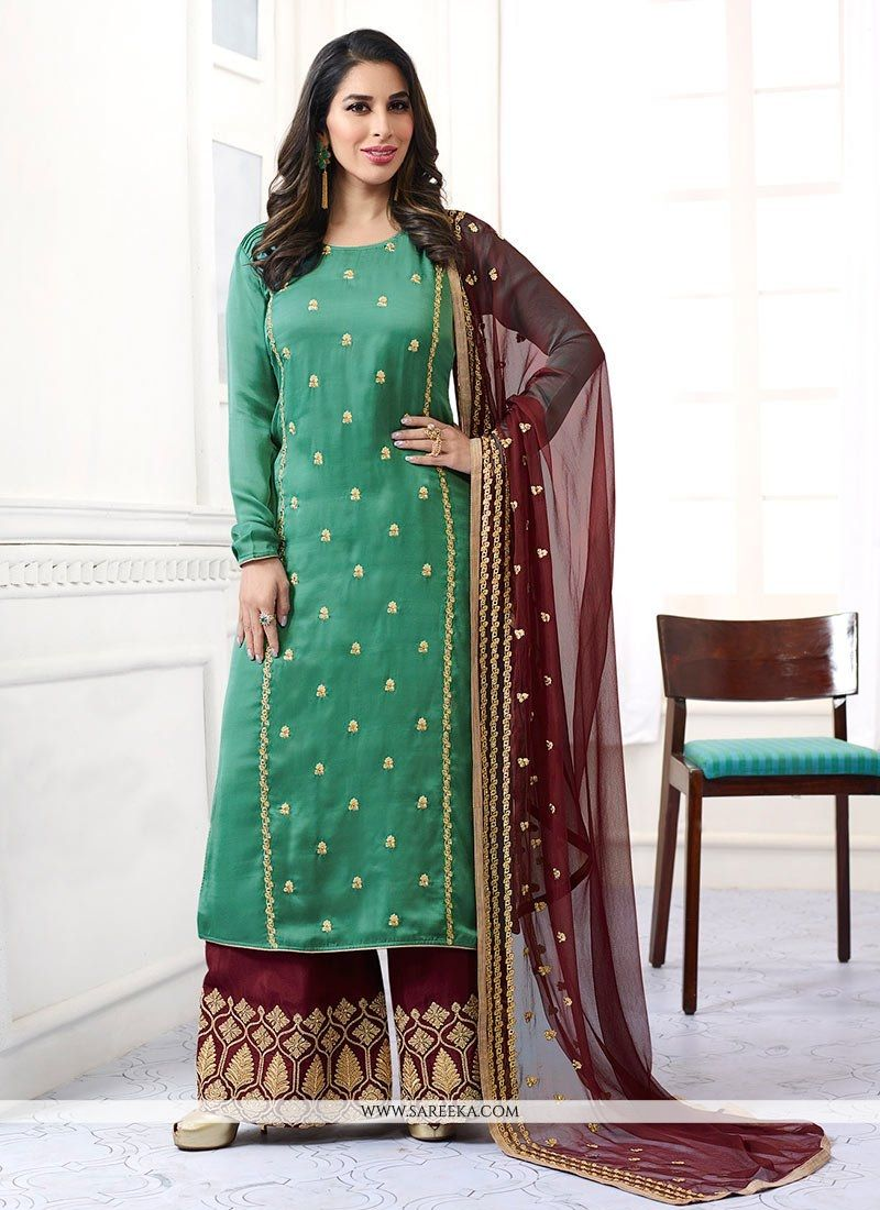 Embroidered Work Green Designer Palazzo Salwar Kameez