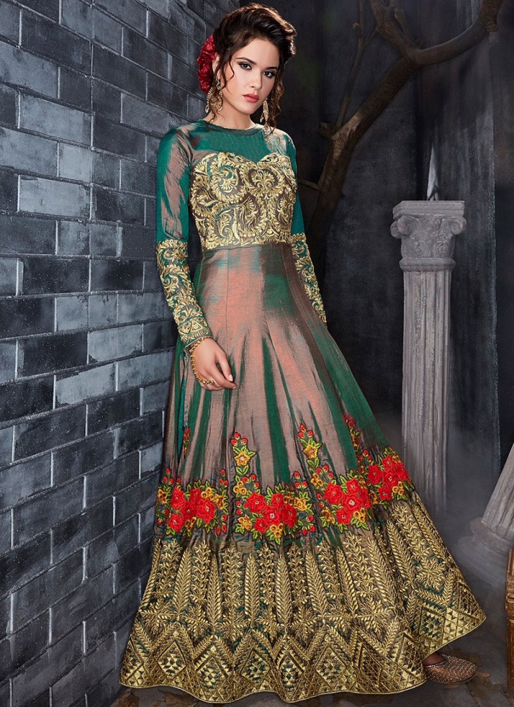 Embroidered Work Green Floor Length Anarkali Suit