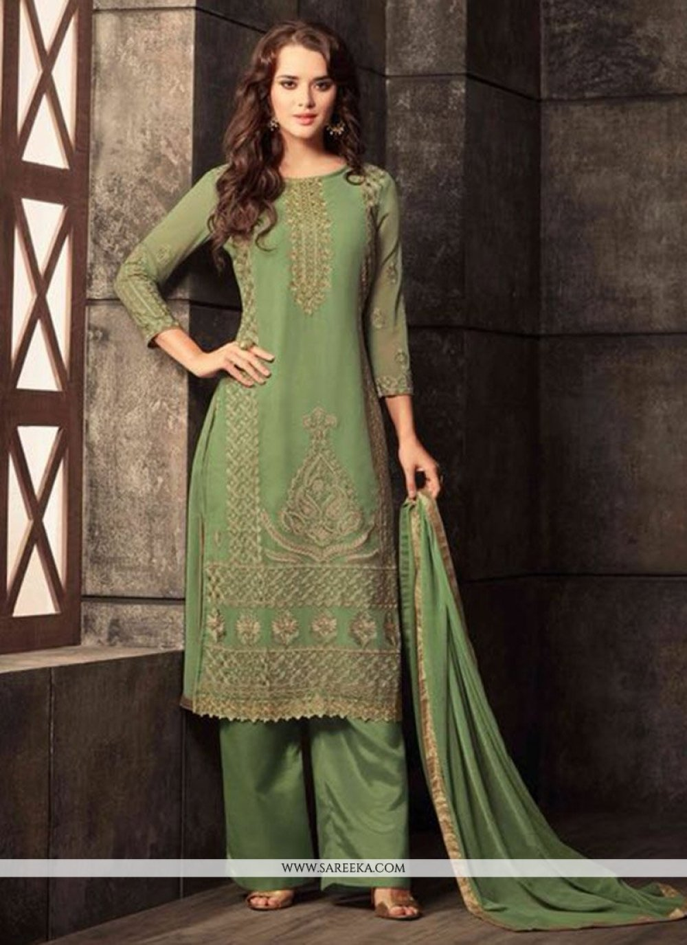 Embroidered Work Green Georgette Salwar Kameez
