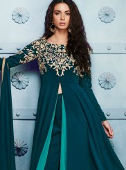 Embroidered Work Green Pant Style Suit