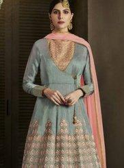 Embroidered Work Grey Art Silk Floor Length Designer Salwar Suit