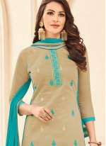 Embroidered Work Grey Cotton   Churidar Suit
