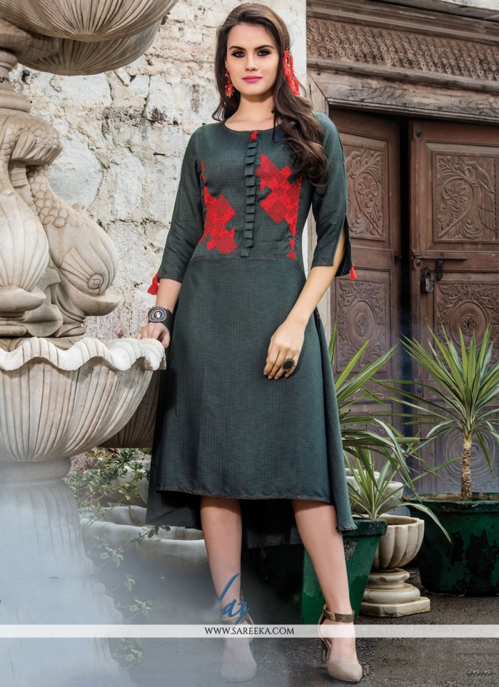 Embroidered Work Grey Fancy Fabric Party Wear Kurti