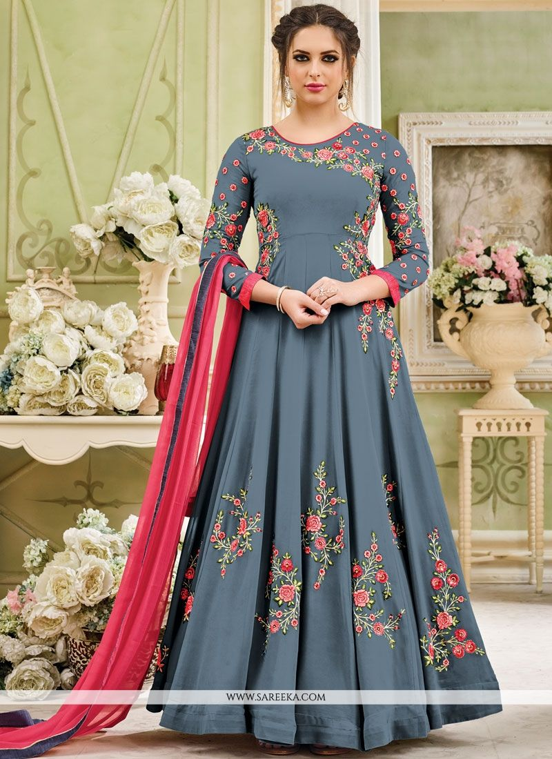 Embroidered Work Grey Faux Georgette Anarkali Salwar Kameez