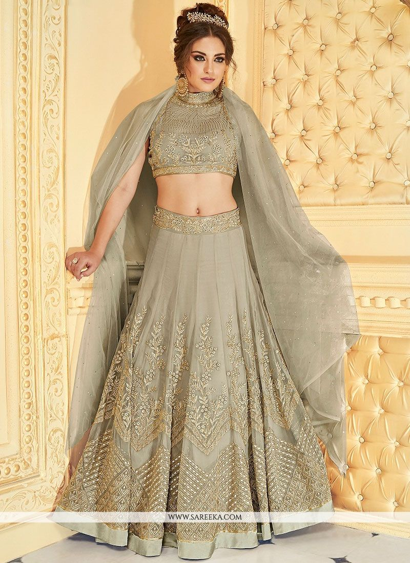 Embroidered Work Grey Lehenga Choli