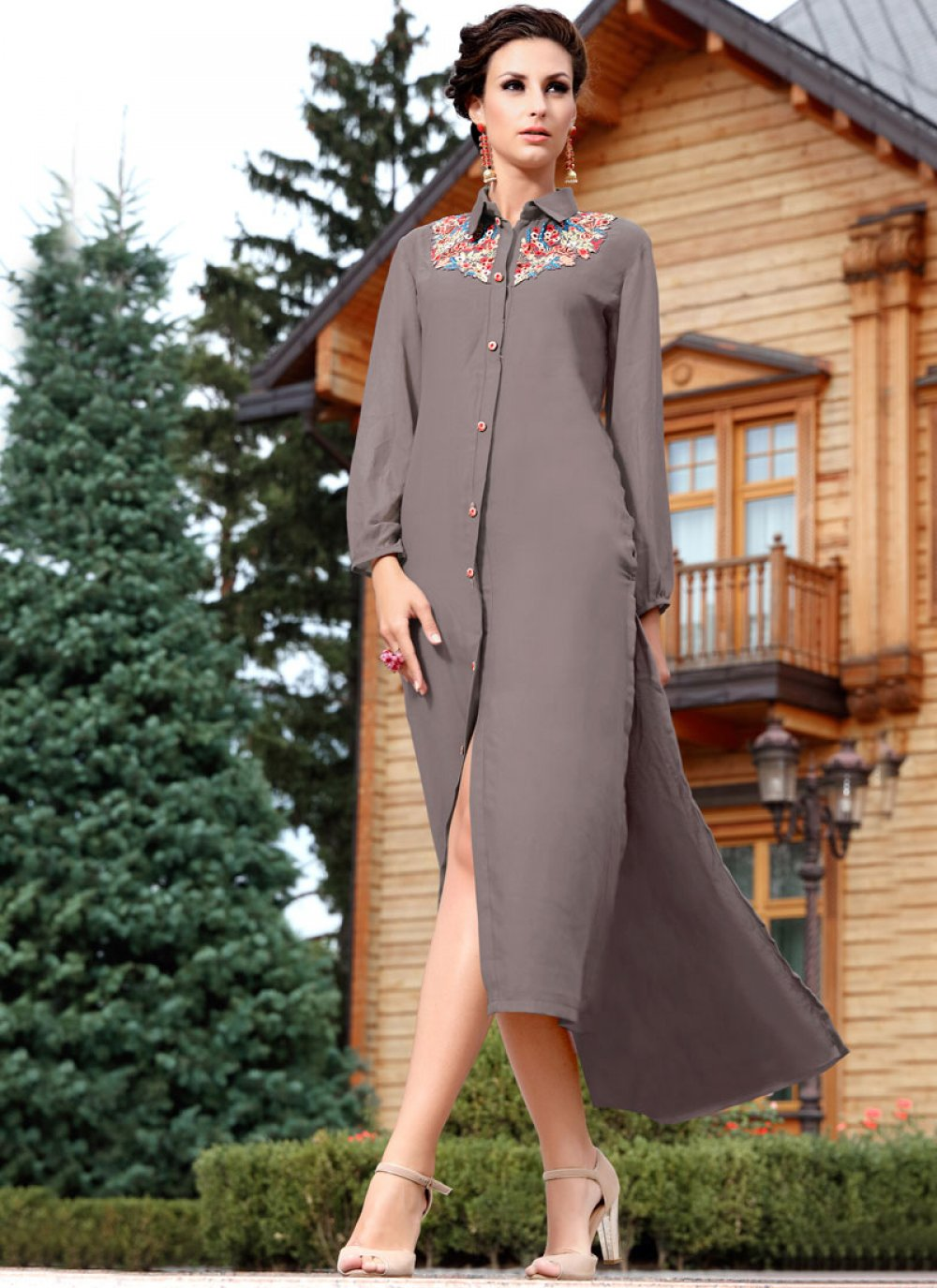 Embroidered Work Grey Party Wear Kurti