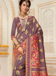 Embroidered Work Grey Traditional Designer Saree