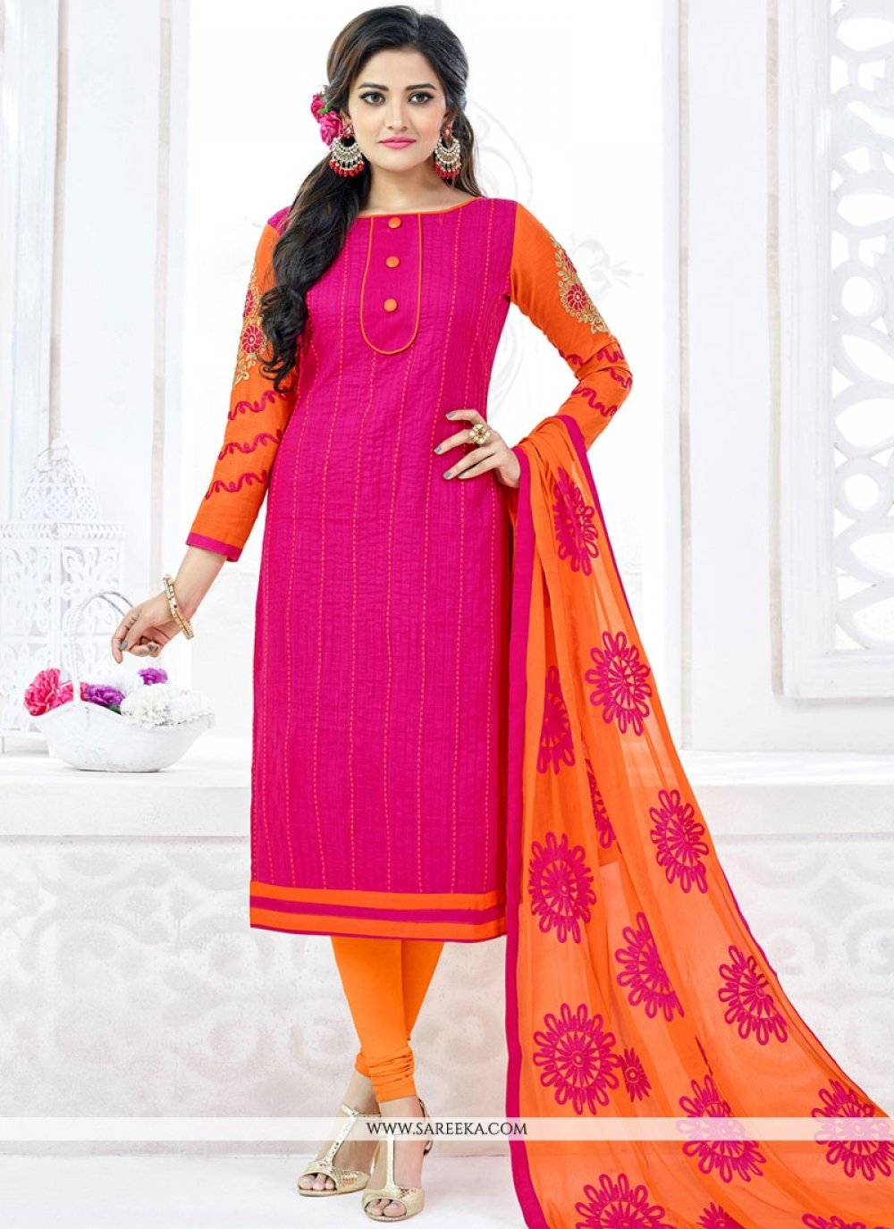 Embroidered Work Hot Pink Churidar Suit
