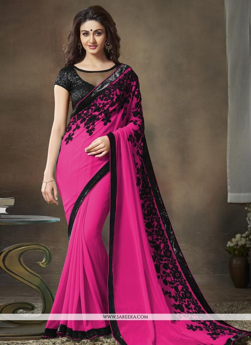 d7635c5ea0a Shop Online Embroidered Work Hot Pink Classic Designer Saree   71550 -