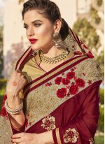 Embroidered Work Maroon Bollywood Saree