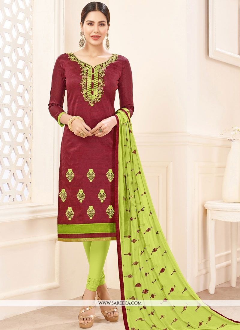 Embroidered Work Maroon Cotton   Churidar Suit