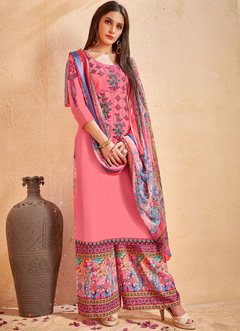 1cc7f8ce9bd Buy Online Embroidered Work Multi Colour Cotton Designer Palazzo Salwar  Kameez : 86475 -