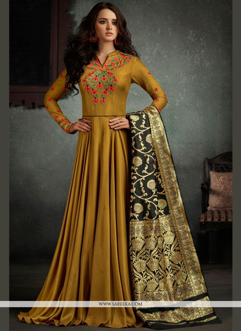 Embroidered Work Mustard Rayon Floor Length Anarkali Suit
