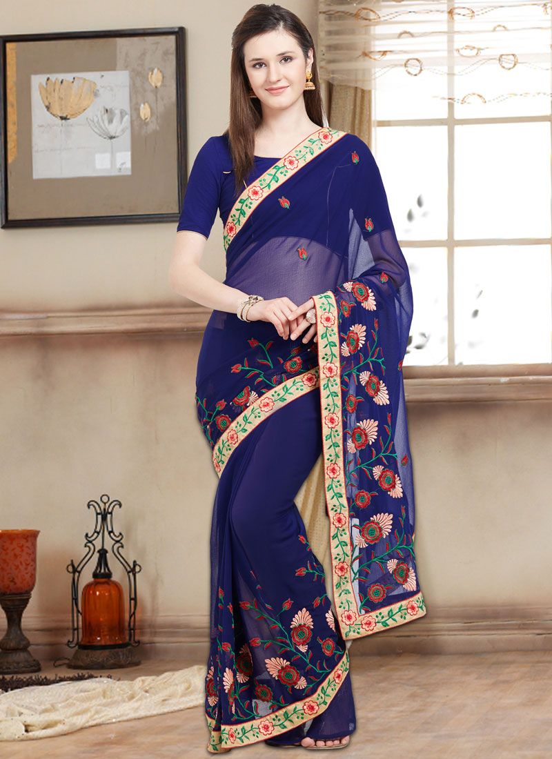 Embroidered Work Navy Blue Bollywood Saree