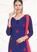 Embroidered Work Navy Blue Chanderi Cotton Churidar Suit