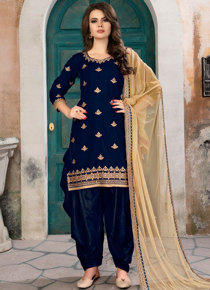 Embroidered Work Navy Blue Punjabi Suit
