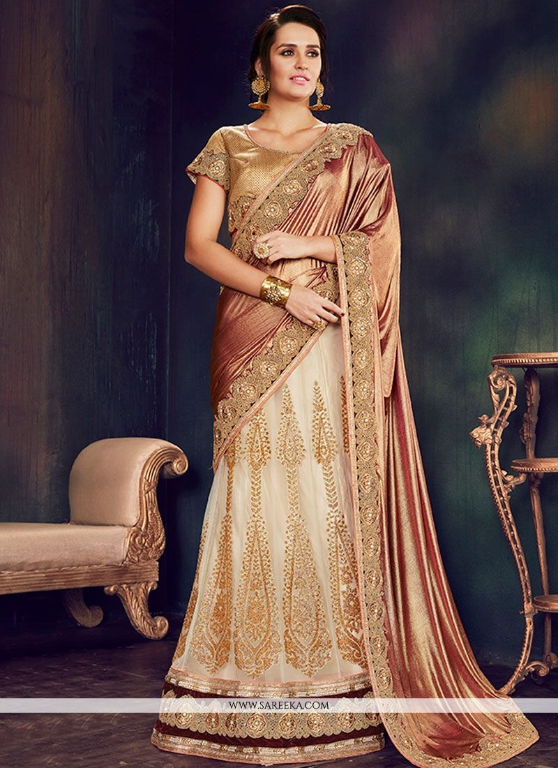 Embroidered Work Net Lehenga Saree