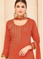 Embroidered Work Orange Cotton   Churidar Suit