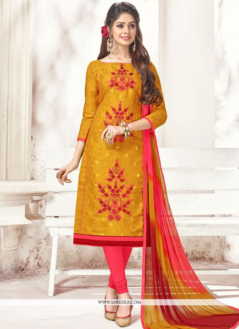 Embroidered Work Orange Cotton   Churidar Suit