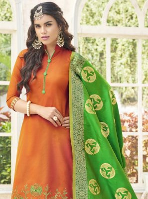 Embroidered Work Orange Cotton Satin Designer Palazzo Suit