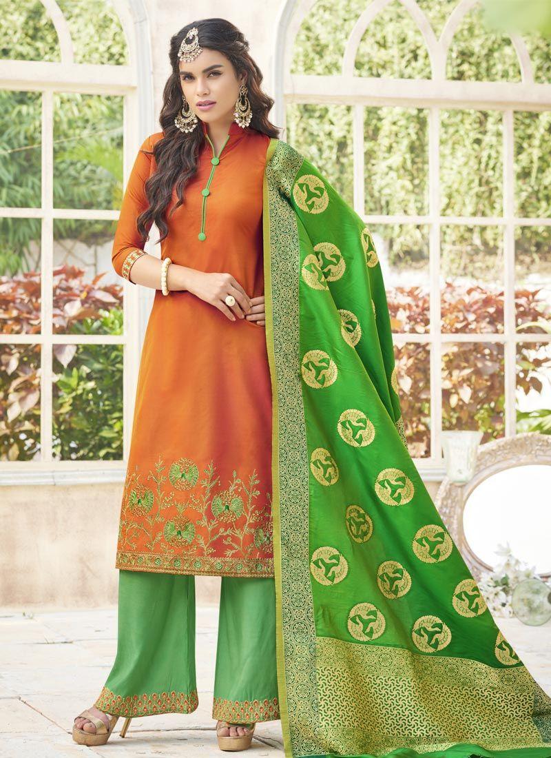 Embroidered Work Orange Cotton Satin Designer Palazzo Suit