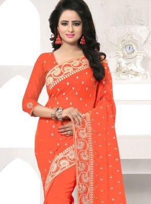 Embroidered Work Orange Designer Saree