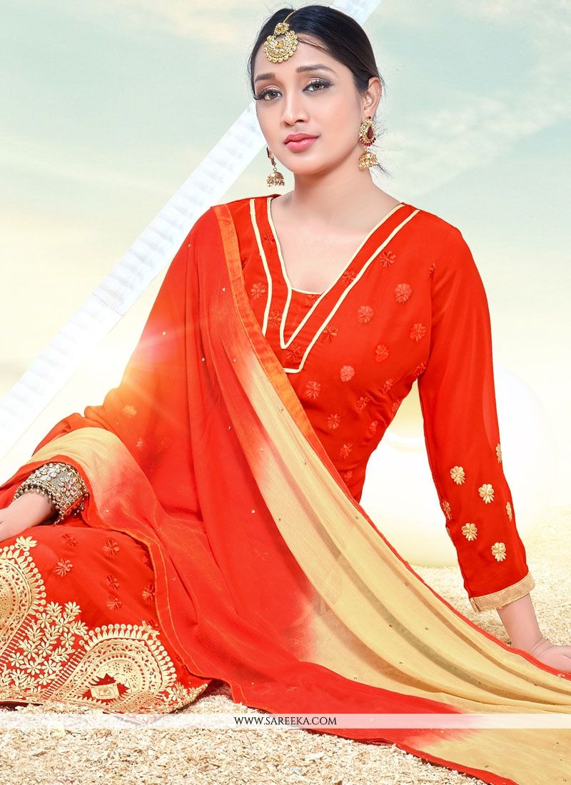 Embroidered Work Orange Faux Georgette Churidar Designer Suit