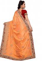 Embroidered Work Orange Traditional  Saree