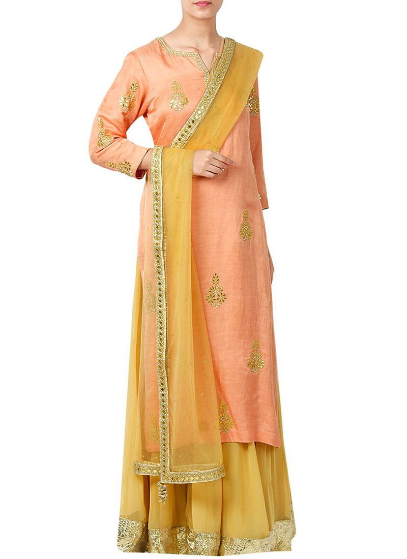 Embroidered Work Peach Art Silk Designer Palazzo Suit