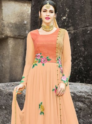 Embroidered Work Peach Faux Georgette Floor Length Anarkali Suit