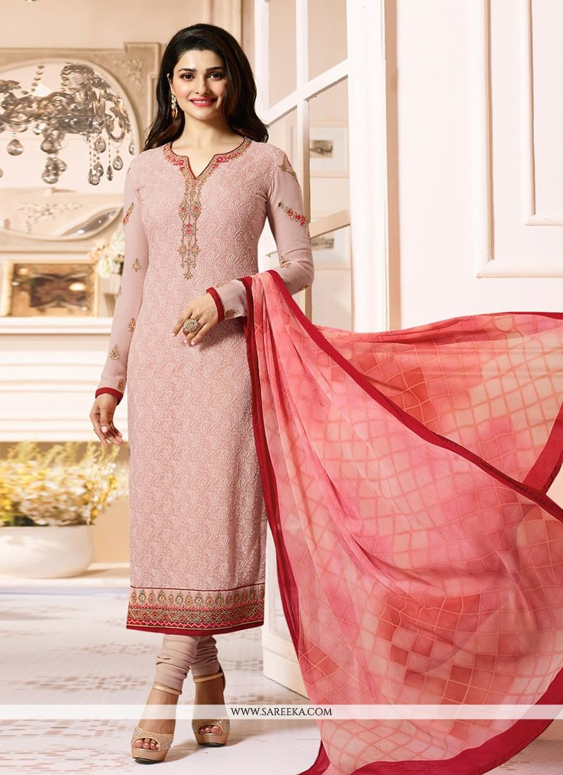 Embroidered Work Peach Georgette Salwar Suit