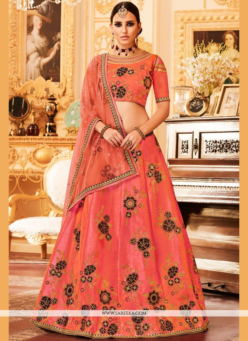 Embroidered Work Peach Lehenga Choli