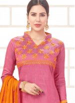 Embroidered Work Pink Churidar Suit