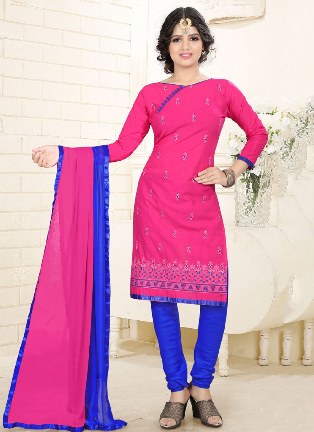 Embroidered Work Pink Cotton   Churidar Suit