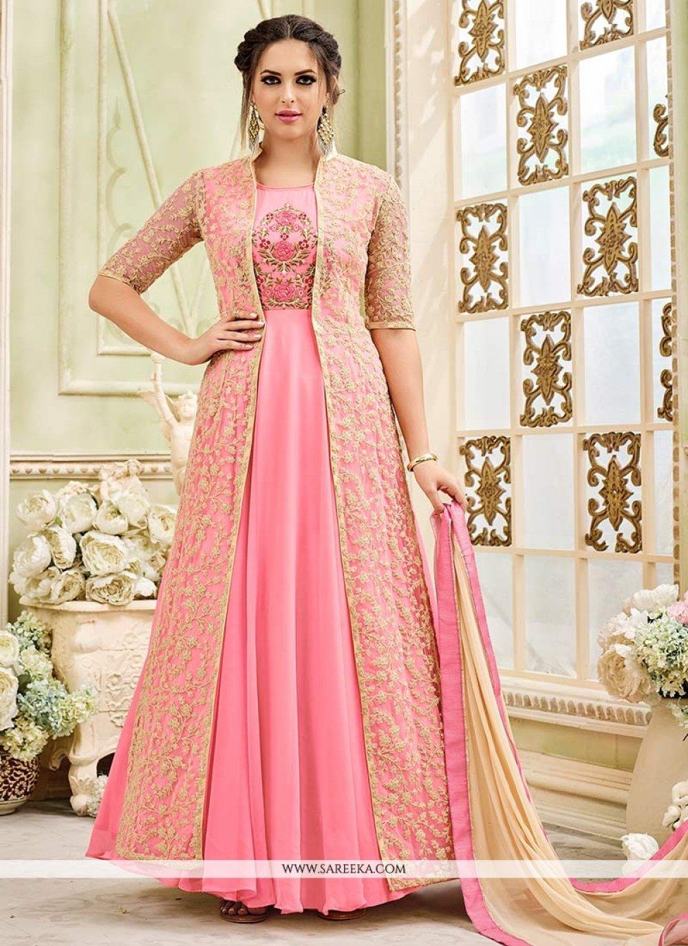 Embroidered Work Pink Faux Georgette Floor Length Anarkali Suit