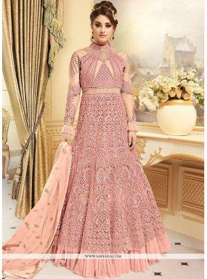 Embroidered Work Pink Floor Length Anarkali Suit
